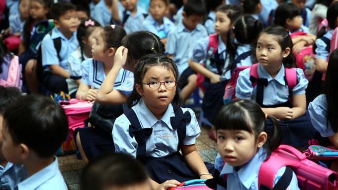 Đồng phục học sinh Trường tiểu học Đinh Tiên Hoàng - Ảnh: Như Hùng