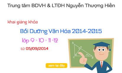 KG các lớp Bồi Dưỡng Văn Hóa từ ngày 05 tháng 09/2014