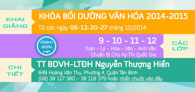 Khai giảng các lớp Bồi Dưỡng Văn Hóa tháng 10/2014