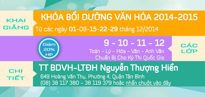 Khai giảng các lớp Bồi Dưỡng Văn Hóa tháng 12/2014