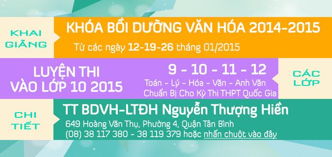 Khai giảng các lớp Bồi Dưỡng Văn Hóa tháng 01/2015