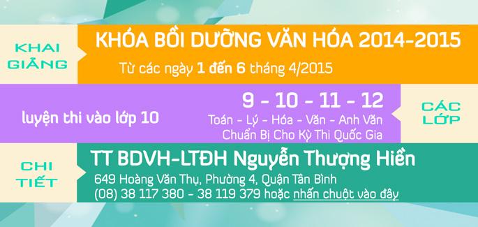 Khai giảng các lớp Bồi Dưỡng Văn Hóa tháng 4/2015