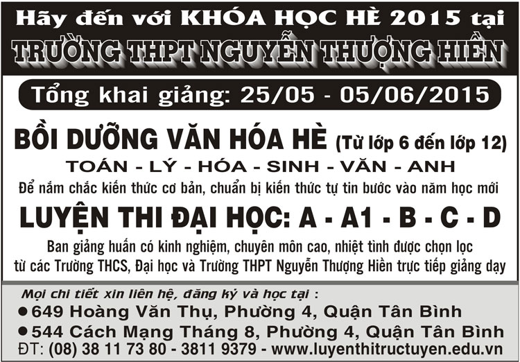 Khai giảng các lớp Bồi Dưỡng Văn Hóa Hè tháng 6/2015