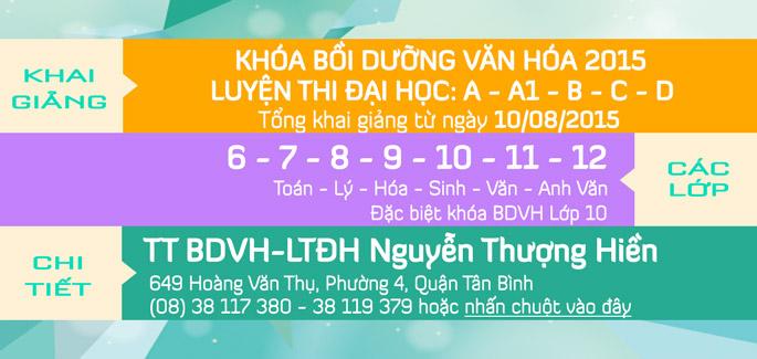 Khai giảng khóa Bồi Dưỡng Văn Hóa, LTĐH, Luyện thi THPT quốc gia 8/2015