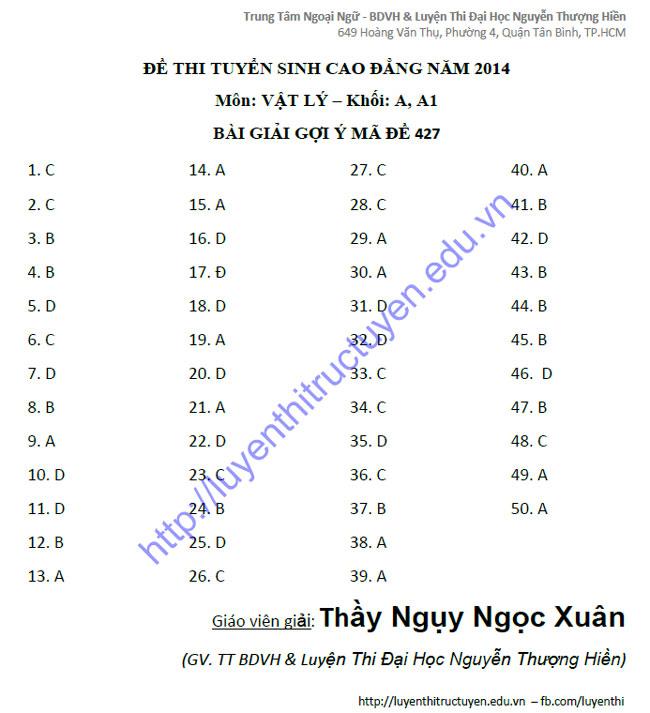 Đáp án đề thi cao đẳng môn Lý khối A, A1 năm 2014 - Gợi ý giải - Mã đề 427