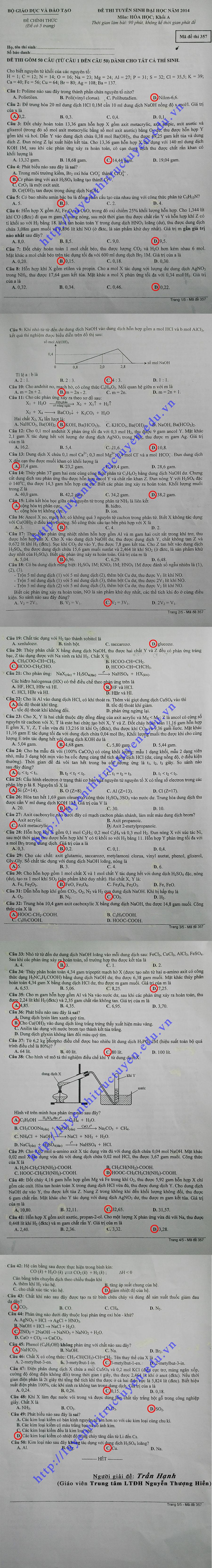 Đáp án đề thi đại học môn Hóa khối A 2014 - Mã đề 357