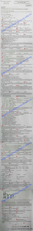 Đáp án đề thi đại học môn Hóa khối B 2014 - Mã đề 739