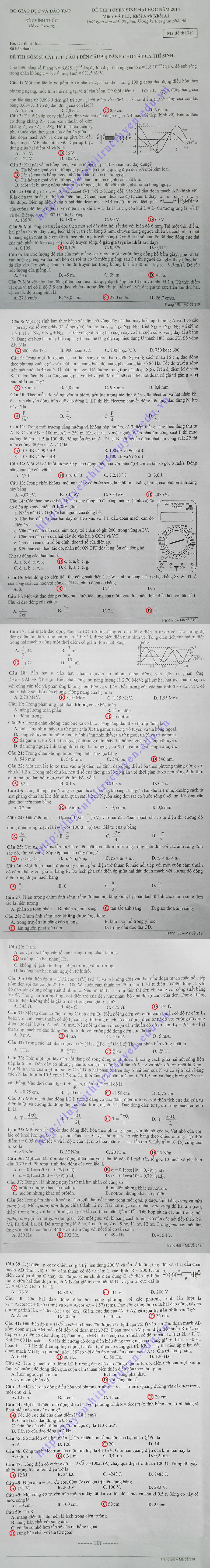 Đáp án đề thi đại học môn lý khối A 2014 - Mã đề 319