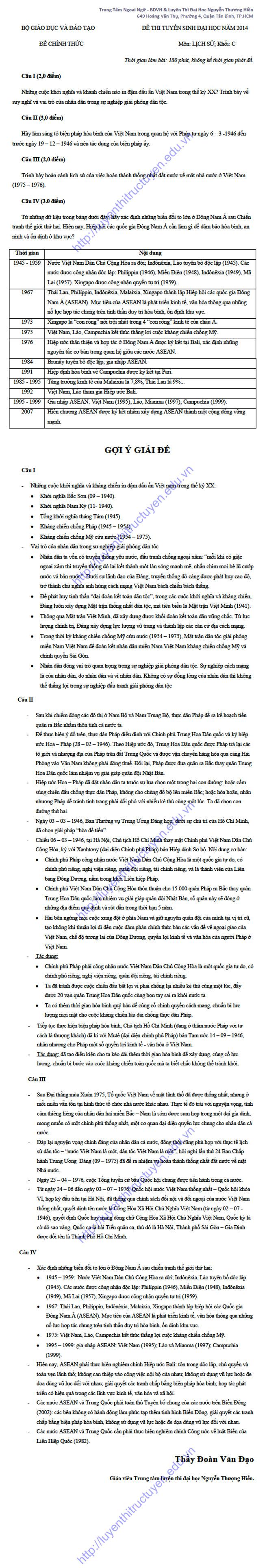 Đáp án đề thi đại học môn Sử khối C 2014