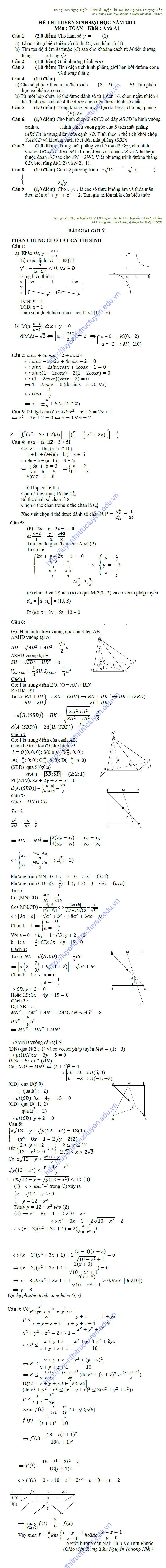 Đáp án đề thi đại học môn toán khối A 2014