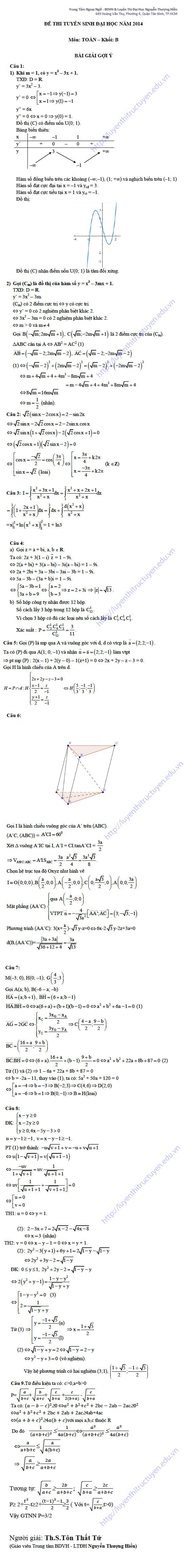 Đáp án đề thi đại học môn toán khối B 2014