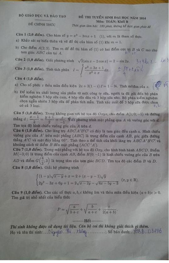 Đề thi đại học môn toán khối B 2014