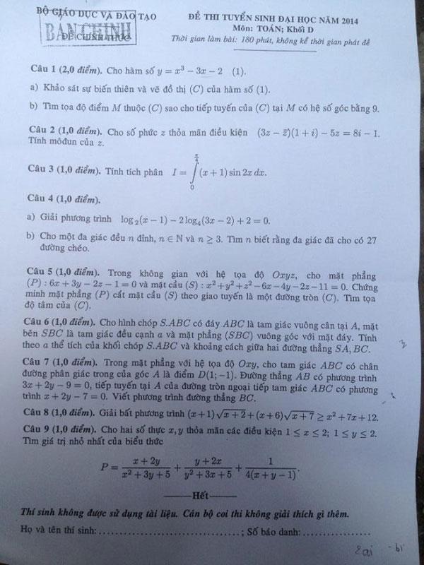 Đề thi đại học môn toán khối D 2014
