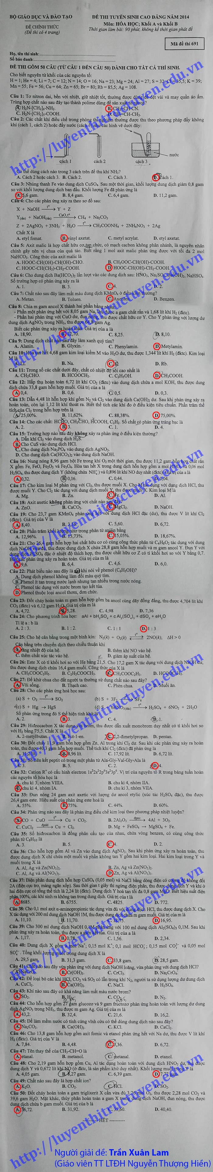 Đề và Đáp án đề thi cao đẳng môn Hóa khối A,B năm 2014 - Gợi ý giải