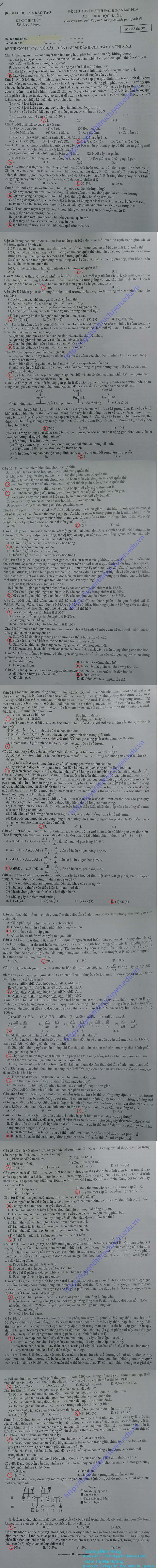 Đề và Đáp án đề thi đại học môn Sinh khối B 2014 - Mã đề 397